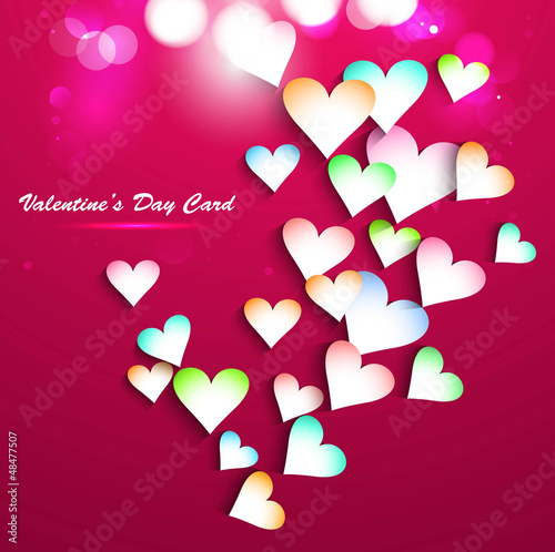 Beautiful Background with colorful hearts card vector