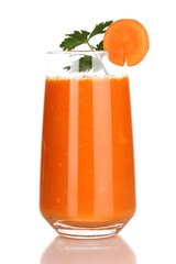 Glass of carrot juice isolated on white