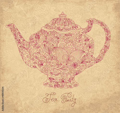 Vintage vector background with teapot