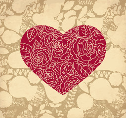 Vector romantic Greeting card with heart