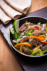 Beef fajita in the pan