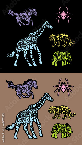 Aluminium Floral Ornament Animal floral decorative ornament, for sticker design