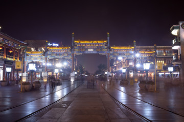 beijing qianmen street at night