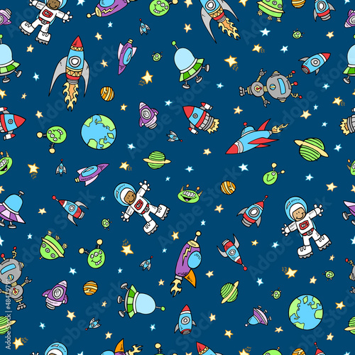 Outer Space Doodle Seamless Pattern