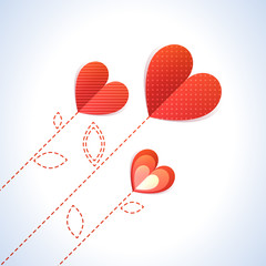 Trendy Illustration of three diagonal red hearts like flowers