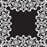 White lace frame isolated on black