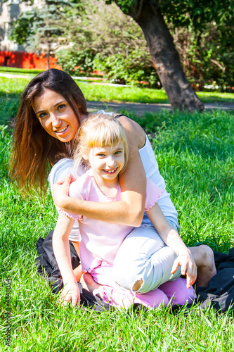 young mother with a beautiful daughter