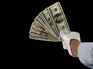 hand in white gloves giving money
