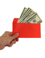 hand giving money in red envelope