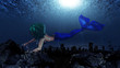 Mermaid in underwater world
