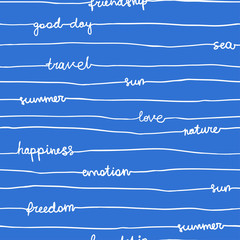 Seamless hand write stripe pattern with words