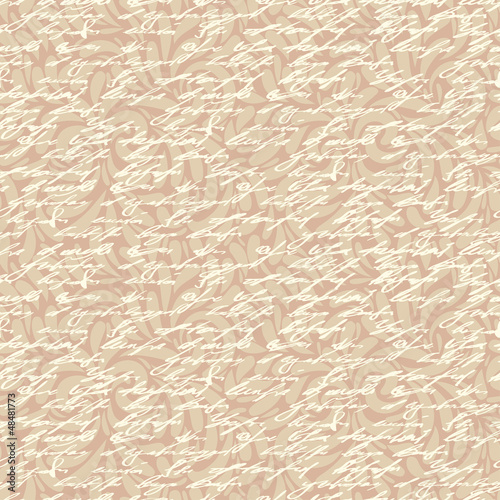 Abstract seamless hand write pattern with floral ornament