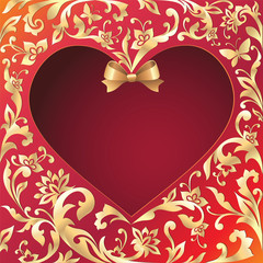 beautiful Valentine's day khokhloma heart background