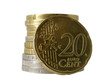 20 euro cent over pile of other coins