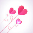 Trendy Illustration of three diagonal pink hearts like flowers