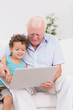 Grandfather and grandson watching a laptop