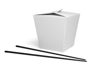 Chinese food box with white background