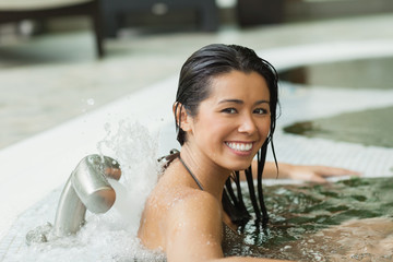 Woman smiling in hydrotherapy pool