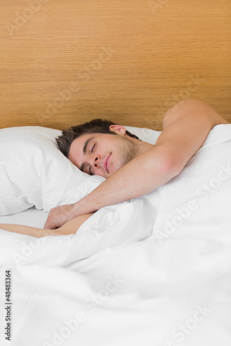 Brunette man asleep