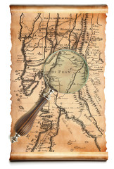 Magnifying glass  and old map