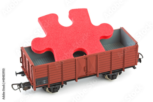 Toy train with puzzle