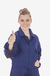 Female technician witth hand on waist showing thumbs up sign