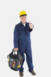 Mechanic with tool bag showing thumbs up sign