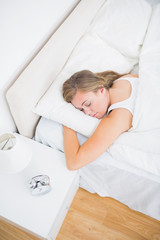 Hight angle view of  woman sleeping