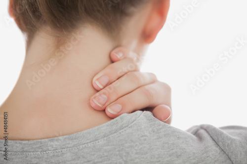 Woman suffering from neckache