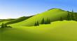 Rural landscape with geen hills