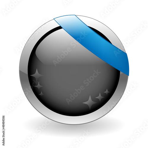 BLANK web button (round blue metallic blank gel)