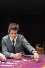 Man placing bet