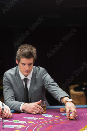 Man placing bet