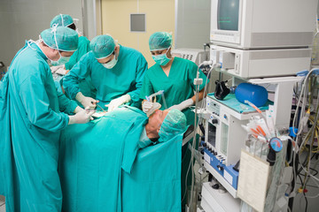 View of a medical team operating