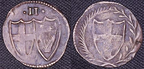 English Commonwealth Halfgroat silver coin 1649-1660
