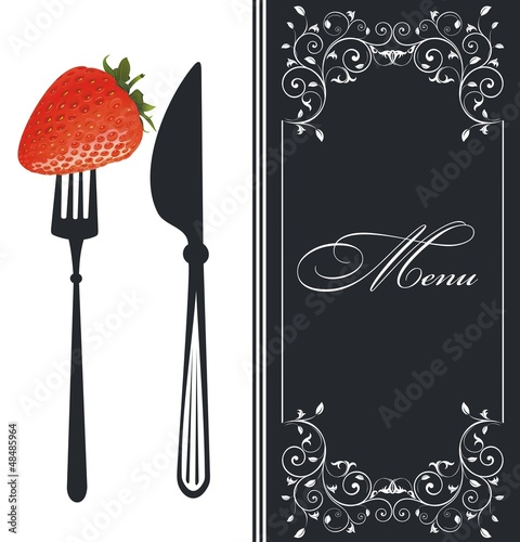 Creative restaurant menu with strawberries