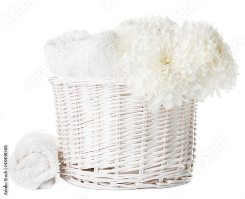 white bath and spa set isolated