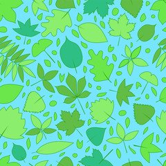 Green fresh leaves spring seamless pattern, vector