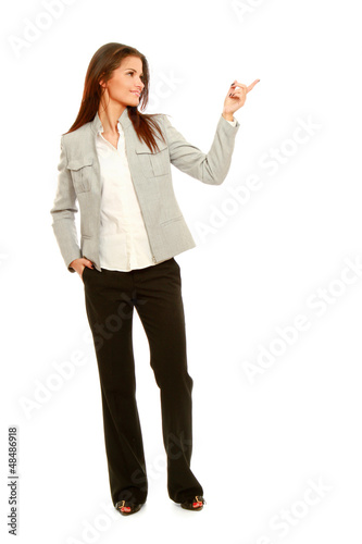 A full length portrait business woman shows
