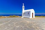 Small white church on the coast of Crete in Greece