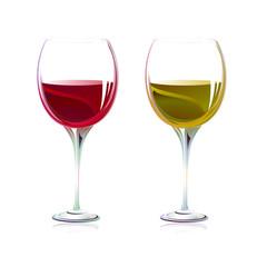 Verres de vins rouge et blanc