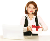 A customer service business woman