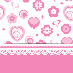 pink background with a pattern and a lace