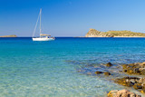 White yacht on the idyllic beach lagoon of Crete, Greece - Fine Art prints