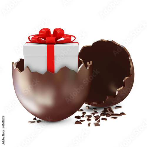 Broken Chocolate Easter Egg with Gift Box Inside
