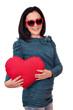 teenage girl with heart and sunglasses