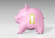 piggy bank with a golden keyhole