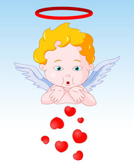 Cupid Blowing Hearts
