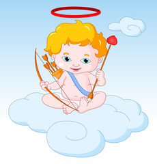 Cupid Sitting on the Cloud with Bow and Arrow