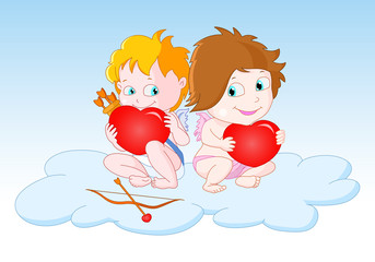 Cupids Sitting on the Cloud